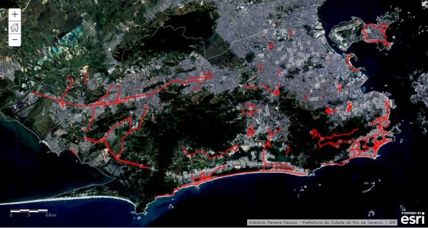 The location of cycle paths in Rio de Janeiro