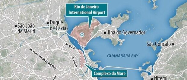 """The Daily Mail emphasizes that Maré, a """"breeding ground"""" for zika, is just 2.5km from the airport where international visitors will arrive. Image from the Daily Mail"""
