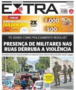 Front page of yesterday's EXTRA newspaper