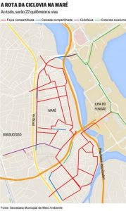 The projected bike path routes in Maré