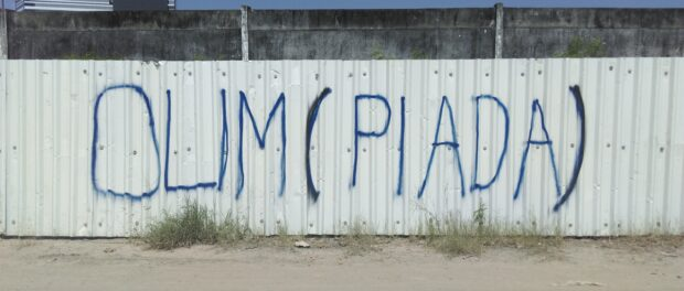 """A play on the Portuguese words for Olympics (""""Olimpíadas"""") and for a joke (""""piada"""")."""