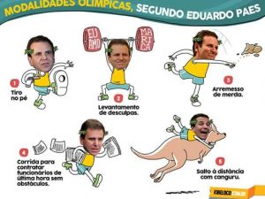 Mayor Paes competing in five parody Olympic events: 1. Shooting yourself in the foot, 2. Weightlifting excuses, 3. Shot put with poop, 4. Running to contract workers last minute, 5. Distance jumping with a kangaroo.