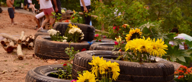 Flower beds in old tyres