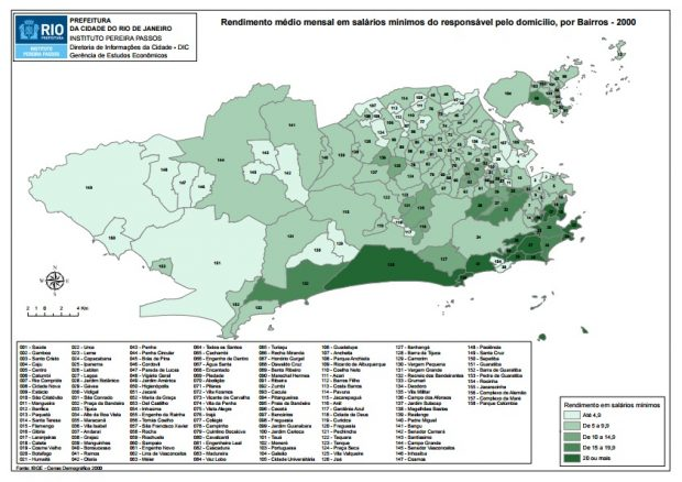 2000 map showing the average monthly household income for each neighborhood in Rio. In the lightest green neighborhoods the average monthly salary is 4.9 times the minimum wage. In the darkest green neighborhoods the average monthly salary is over 20 times the minimum wage.