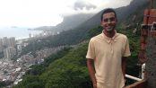 Diogo stands at at the location of his future veranda overlooking São Conrado.