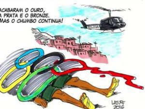 """They're done with the gold, silver and bronze, but the lead continues!"" Cartoon by Carlos Henrique Latuff"