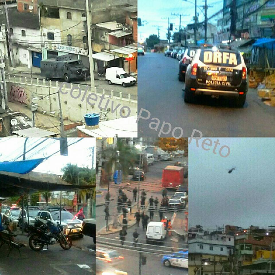Photo collage of military intervention in Alemão posted by Coletivo Papo Reto