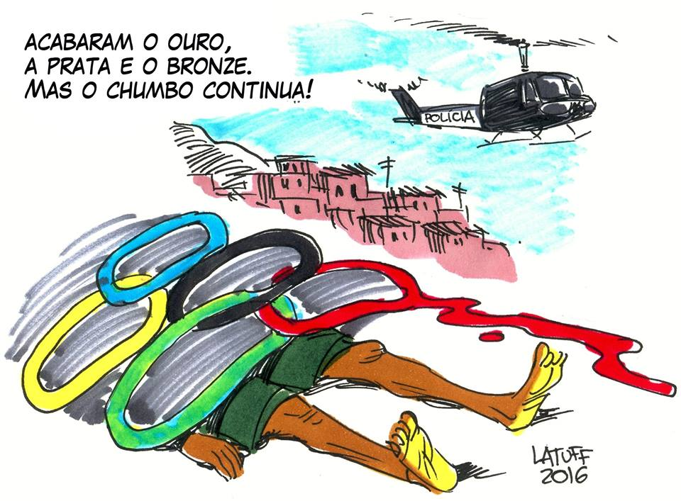 """""""The gold, silver and bronze is over but the lead continues."""" Cartoon by Carlos Latuff"""
