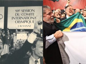 1. Barcelona mayor Pascual Maragall and 2. Brazil's Lula with Rio's Paes, respectively, celebrating winning their bids to host the Olympics. Photos by RTVE and Agência Brasil
