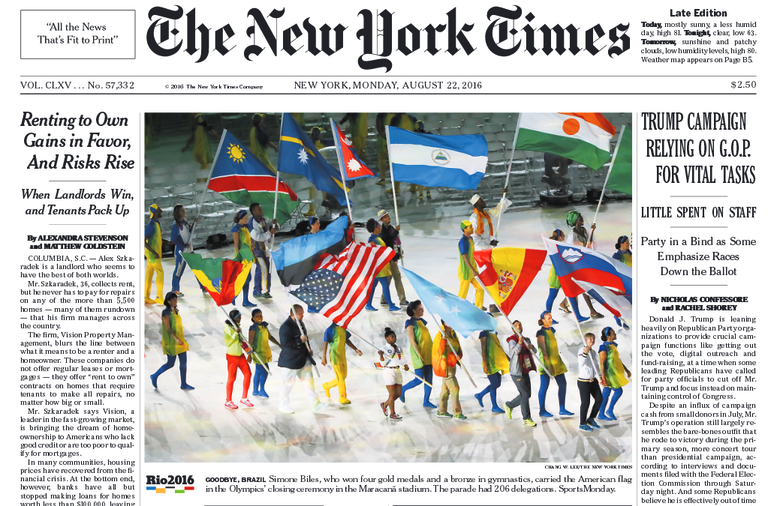 Federal Government review of international media features this image of the New York Times. Image from planalto.gov.br