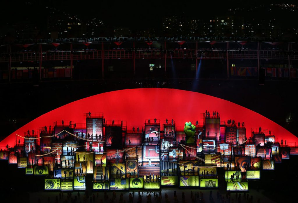 Favelas represented in the Olympics opening ceremony. Photo by Ian Walton/Getty Images