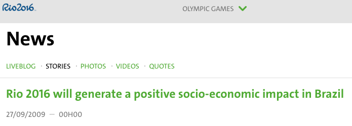 Rio2016 headline from 2009 summarizes studies promising a positive economic impact
