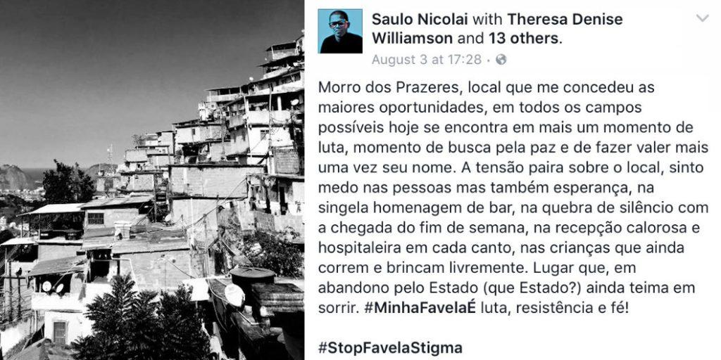 Saul Nicolai's post for #StopFavelaStigma day