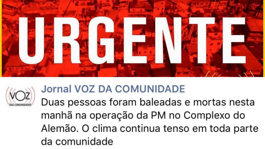 Image from Jornal Voz da Comunidade Facebook Page
