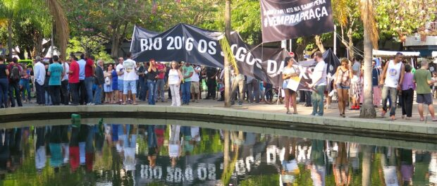 The protest began in Saens Peña Square