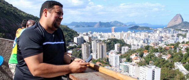 Pereira da Silva President Jorge Luiz de Barros enjoys the favela's view of Rio's South Zone