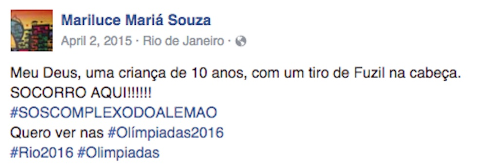 """My God, a ten-year-old child shot in the head. HELP HERE!!!!!"" Community Facebook pages reporting the killing of Eduardo de Jesus Ferreira"