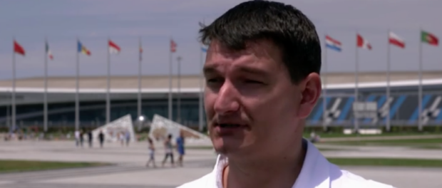 Sochi journalist investigating Olympic costs and corruption. Still from HBO documentary