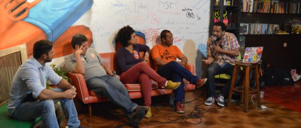 Left to right: David Michael Miranda, Romário Galvão, Marielle Franco and Célio Gari, Photo credit Nour El-Youssef