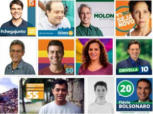 Rio's mayoral candidates 2016, from left to right: Pedro Paulo; Carlos Osorio; Alessandro Molon; Carmen Migueles; Cyro Garcia; Marcelo Freixo; Jandira Feghali; Marcelo Crivella; Indio da Costa; Thelma Bastos; Flávio Bolsonaro.