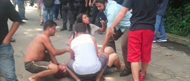 Military police sent tear gas