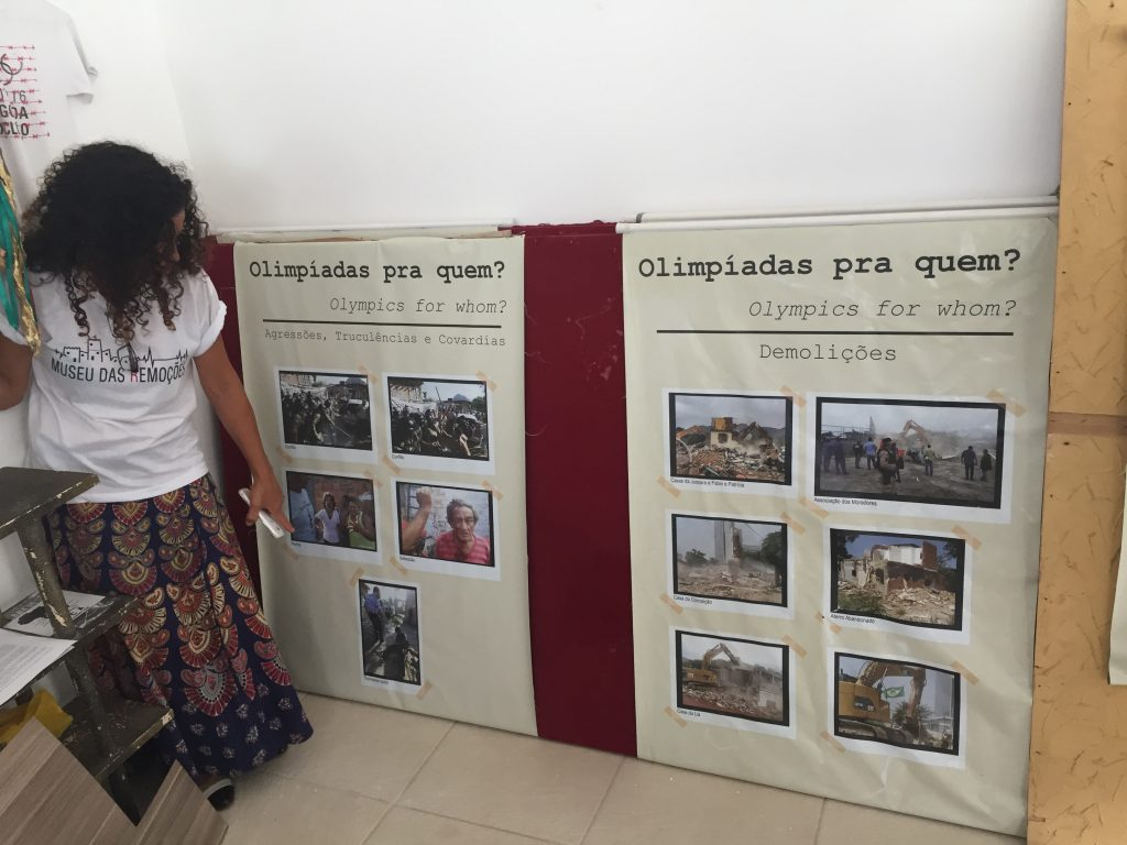 Sandra shows images from the Evictions Museum
