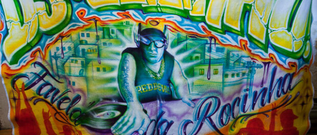 Banner of Rocinha DJ school. Photo by Peter Tsai