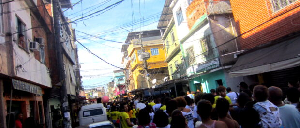 The street filled with protesters.