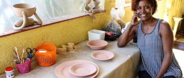 Ceramics for All teacher Tatiana Costa at the AMAHOR studio