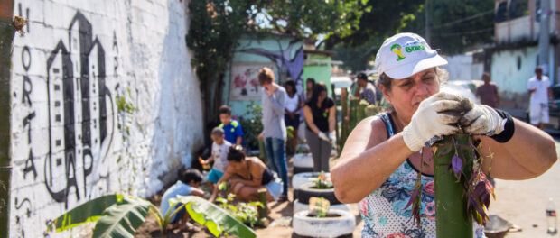 Participants engaged in planting - Photo by Diogo de la Vega