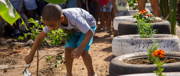 Enzo Helping in the Planting - Photo by Diogo de la Vega