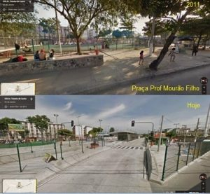 Olympic legacy in Ramos: green leisure spaces replaced with rapid and mass bus corridors. Square called Praça Professor Mourão Filho (from: Google Street View - 2011 and 2016)