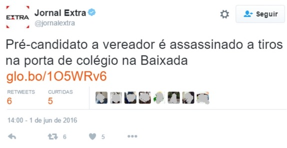 """Pre-candidate for city councilor is assassinated by gunshots at high school entrance in the Baixada."""