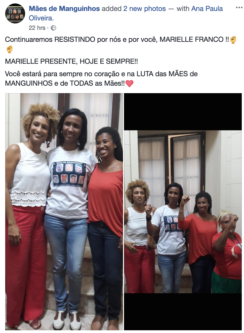 Marielle Franco on the left, with mothers who lost their sons to police violence in Manguinhos favela