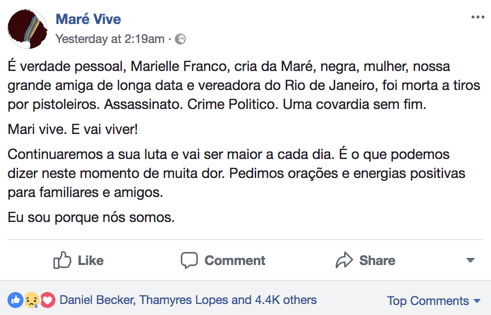 Favela #VoicesFromSocialMedia Unite for Marielle Franco