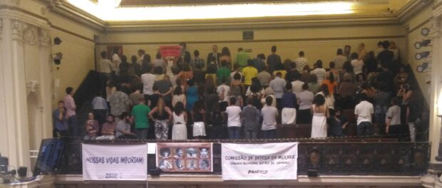 Public in the galleries turn their back to the plenary as protest towards words and negative vote by CouncillorOtoni de Paula on the bill that will name City Council tribune hall after Marielle Franco.