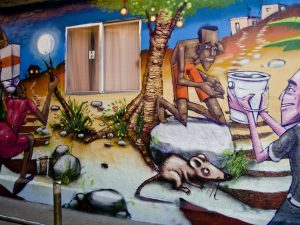 Graffiti on homes tells the story of the communities of Pavão-Pavãozinho and Cantagalo