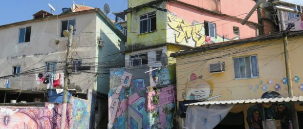 Homes in a square along the pedestrian graffiti path in Prazeres