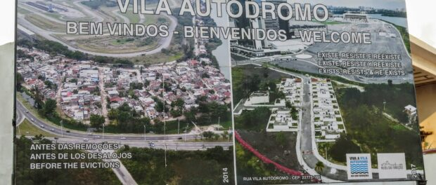 Vila Autódromo welcome sign depicting the original community (left) and as it stands today (right).