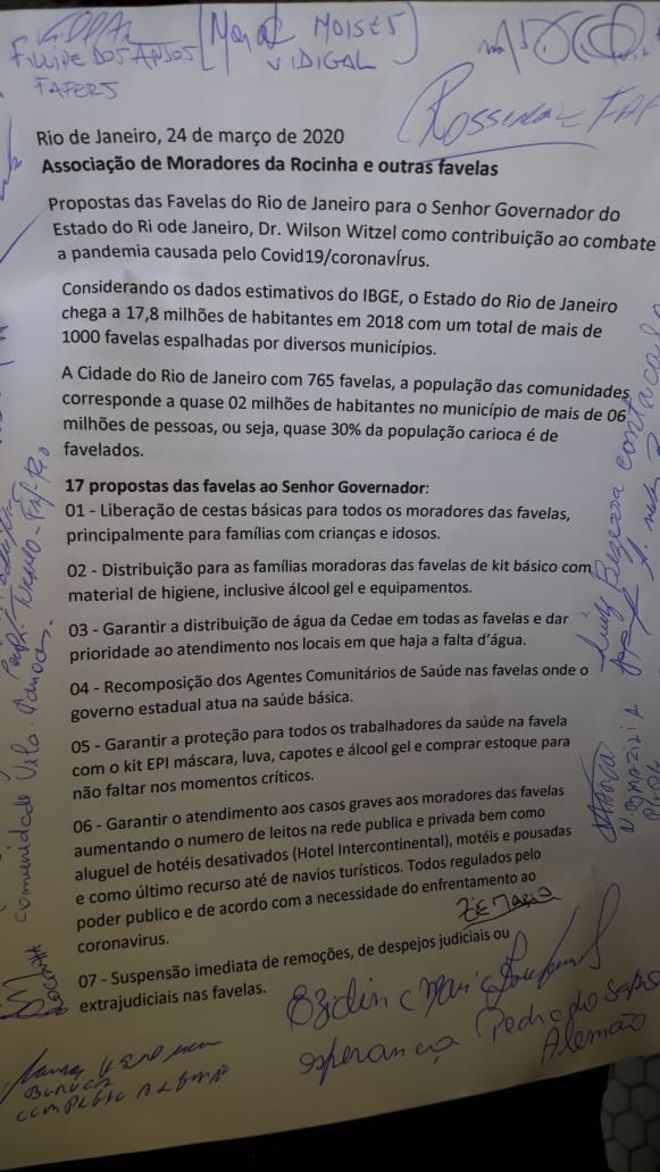 Letter to the Governor of Rio sent by the Rocinha Residents' Association. Photo: https://bbc.in/2UtAJSm