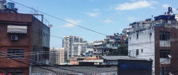 Rocinha, with a few São Conrado's buildings in the background. Photograph: Camilla Piccolo