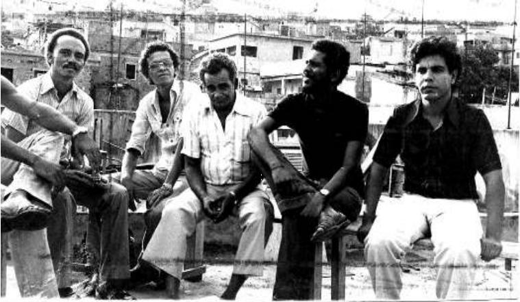 1980, left-to-right, Arnaldo, José de Arimatéia, Irineu Guimarães, a FAFERJ member, and Diquinho. Photo - Eladir Nascimento via Irineu Guimarães