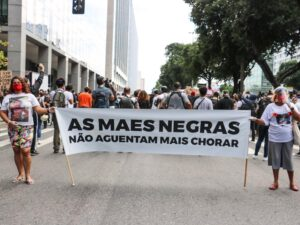 """Black Mothers Cannot Take Crying Any More,"" banner at June 2020 march against racism and state violence. Photo: Luna Costa"