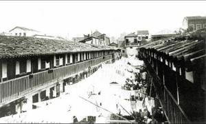 "A photograph showing a ""Cortiço"" (tenement housing) on the Inválidos Street, downtown Rio de Janeiro, before these cortiços were destroyed."