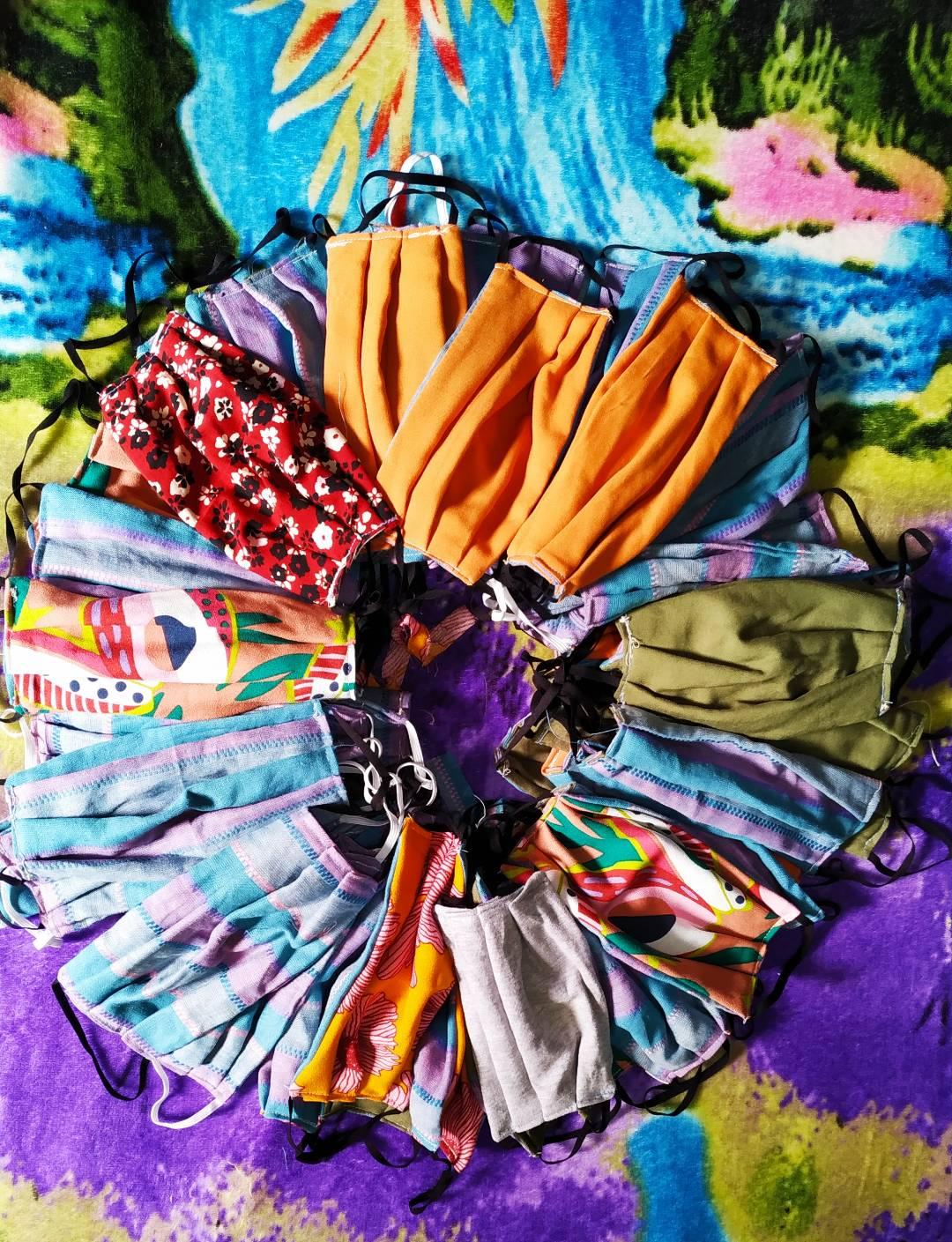 Masks from reclaimed cloth by Valdirene Militão