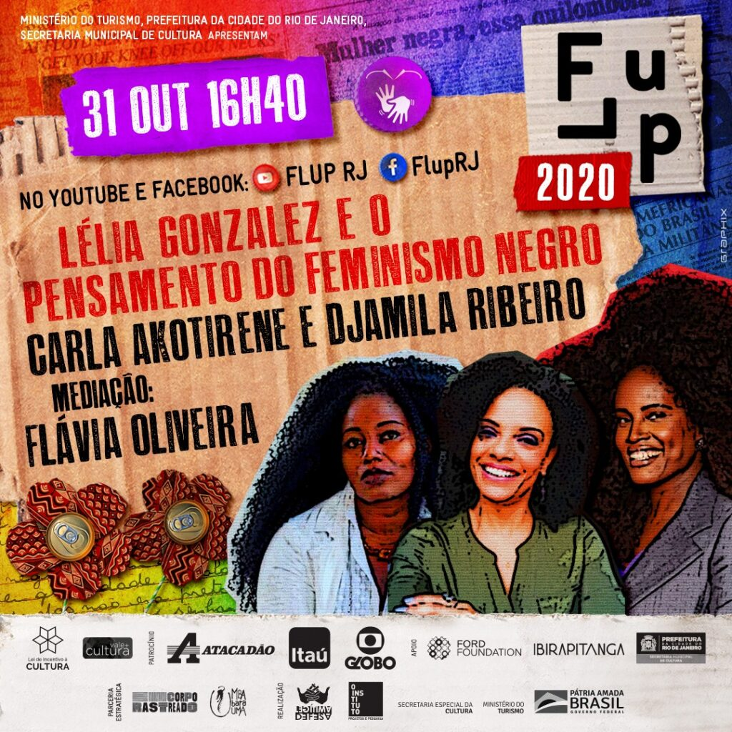 Banner for the FLUP event on Lélia Gonzalez and black feminism