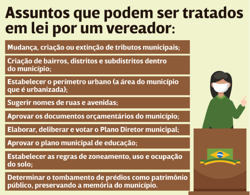 'Issues that can be addressed in a law by a city councilor' graphic by 'Maré de Notícias'.