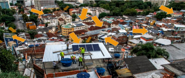 Solar panels in Santa Marta. The locations were chosen by residents, who also helped install the panels. Photo: Insolar