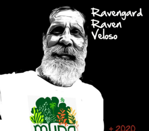 Illustration of Ravengard Veloso with a shirt of his project MUDA.