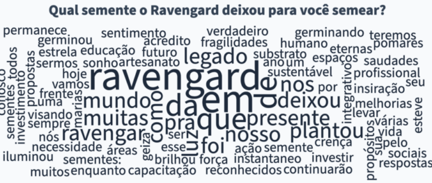 """Word cloud answering to the question """"What seed did Raven leave for you to plant"""", condensated during the Sustainable Favela Network 3rd Annual Meet-Up."""